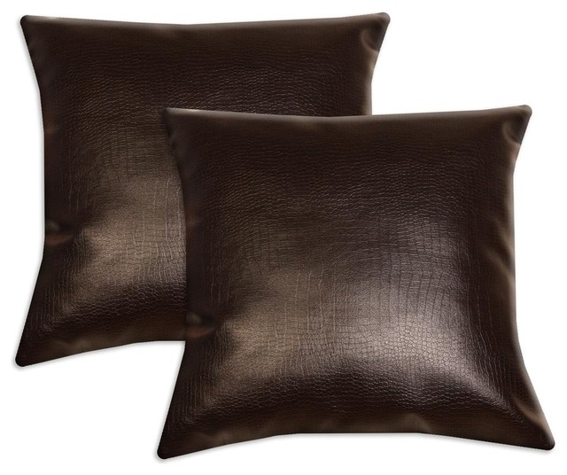 Dark Brown Faux Leather Accent Pillows (Set of 2) contemporary-decorative-pillows