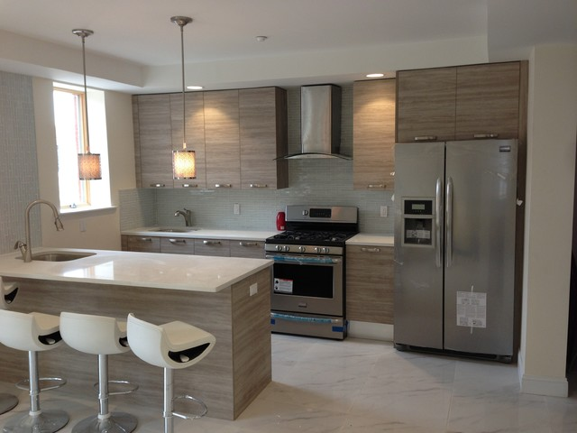 14 unit project far rockaway contemporary kitchen for Modern kitchen units