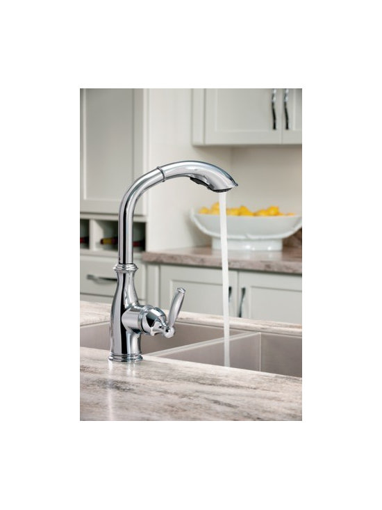 Moen Brantford Chrome one-handle high arc pullout kitchen faucet - The Brantford™ collection features a traditional style giving your home a beautiful look and timeless appeal.
