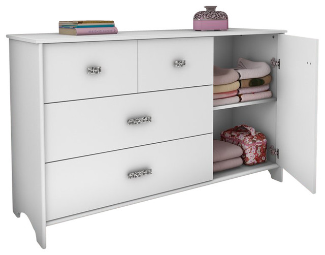 South Shore Sabrina 3 Drawer Single Dresser in Pure White contemporary-kids-dressers
