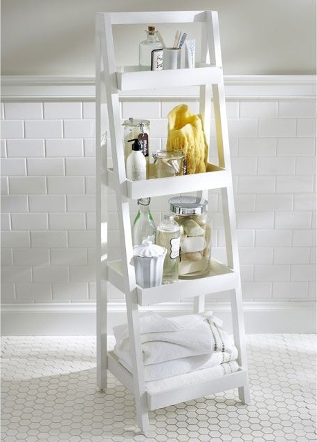 Bathroom Storage Ladder Shelves Beautiful Red Bathroom Storage Ladder Shelves Photo