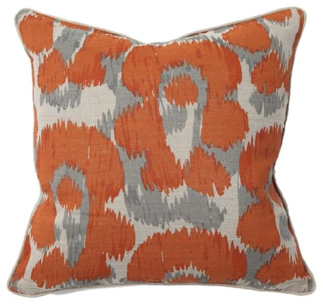 Leopard Print Orange Throw Pillow eclectic-decorative-pillows
