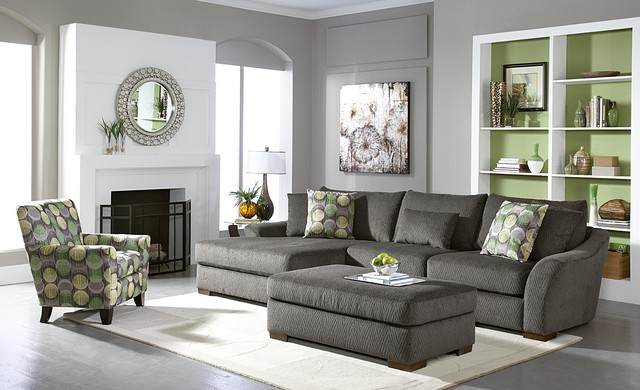 Orleans gray living room sofa collection contemporary for Gray living room black furniture