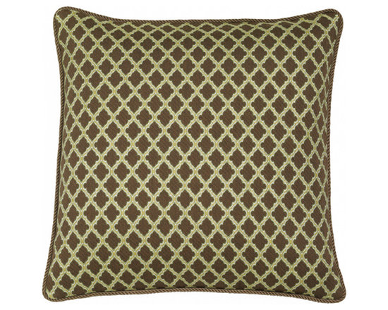 "Elaine Smith Luxury Outdoor Pillows - Elaine Smith Pillows Sahara Chocolate Lattice - 20"" x 20"" - Elaine Smith pillow collections is the world's first and only line of outdoor luxury pillows. They start with the best, solution dyed yarns and work with the finest U.S. mills to create beautiful, long lasting quality products. These pillows can withstand nature and human nature, resisting sun, rain, and stains."