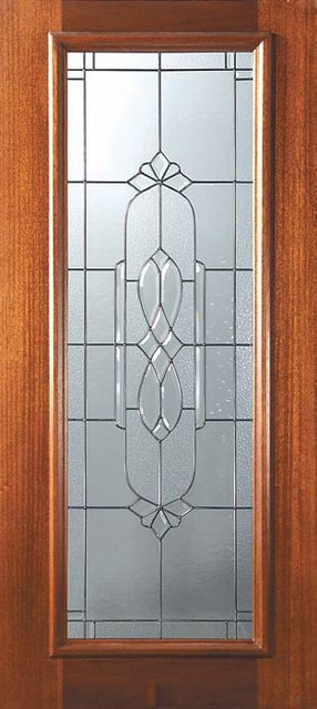 Slab entry single door 80 mahogany kensington full lite for Full window exterior door