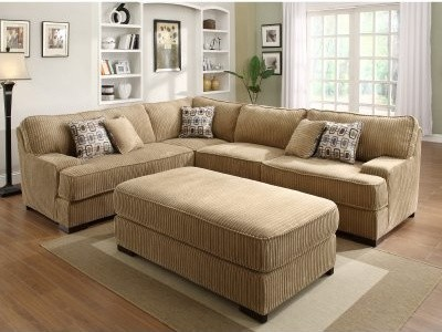 Minnis Chenille 2 Piece Sectional with Ottoman - Brown modern-sectional-sofas