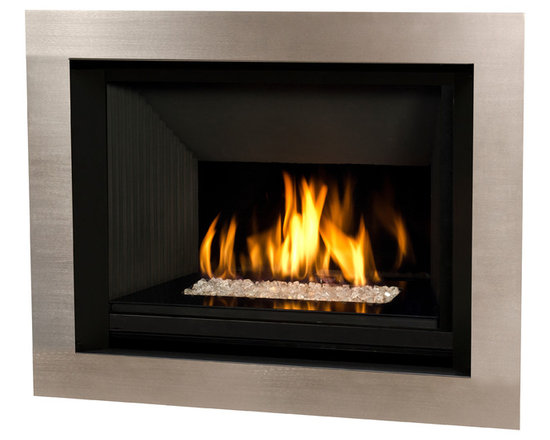 H5 Series Fireplace - 1100I H5 Engine shown with Glass and 4 Sided Nickel Surround