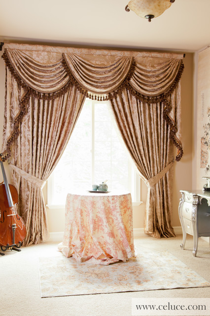 Baroque Floral Elegant Designer Valance Curtains With Swags And Tails By Celuc Traditional