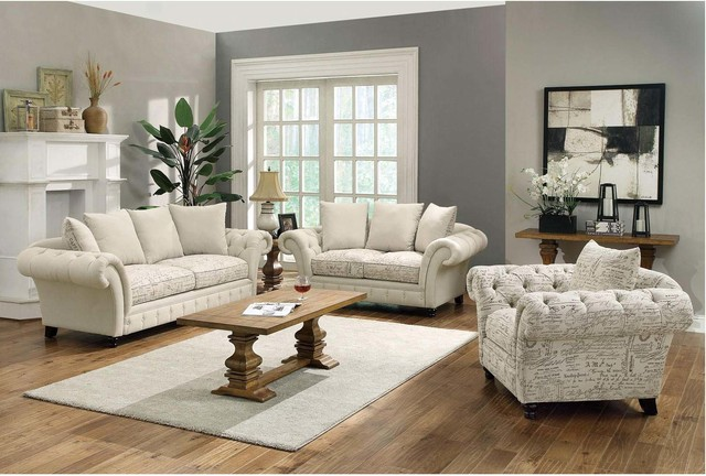 Coaster Traditional Linen Blend Sofa Loveseat Chair French