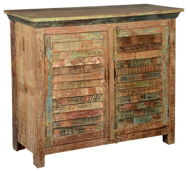 Weathered 2 Shutter Door Rustic Reclaimed Wood Storage Cabinet Buffet rustic-buffets-and-sideboards
