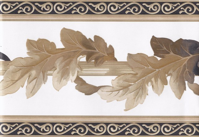 White Black Gold Leaf Column Molding Wallpaper Border - Traditional ...