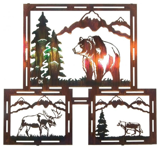 grizzly moose wolf rustic metal wall art triptych 24 inch rustic artwork by. Black Bedroom Furniture Sets. Home Design Ideas