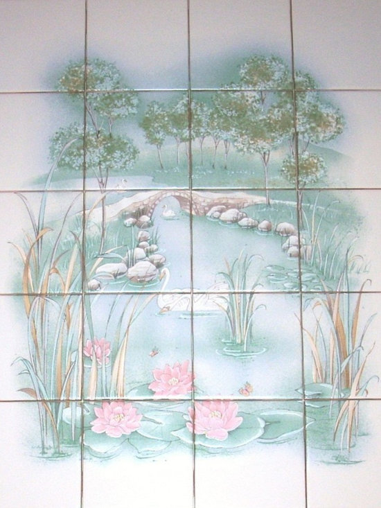 """Mottles Murals Ceramic Tiles - Green and Peach Swan Landscape Ceramic Tile Mural 20 pcs 4.25"""" x 4.25"""" - This mural consists of 20 individual 4.25"""" x 4.25"""" ceramic white interior wall tiles. The mural is 4 tiles wide by 5 tiles down with the overall size of 16"""" x 16""""."""