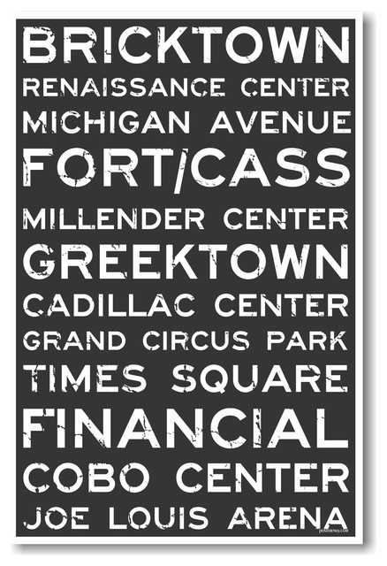 Detroit Signs - NEW World Travel City Train Station Street Sign POSTER industrial-prints-and-posters
