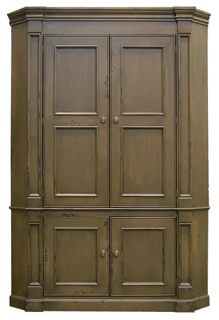 Flat Back Country Corner TV Armoire w 1 Adjustable Shelf (Stone) - Traditional - Entertainment ...