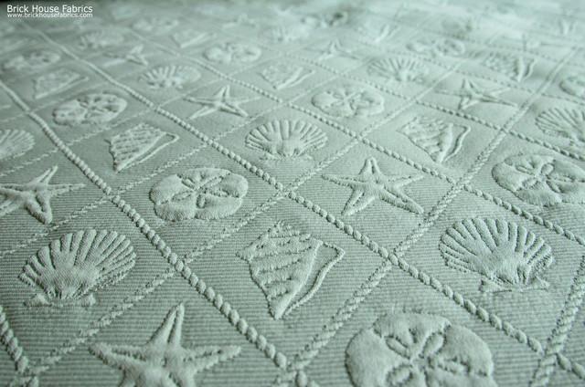 Seashell Trellis Fabric Aqua Upholstery Beach Style