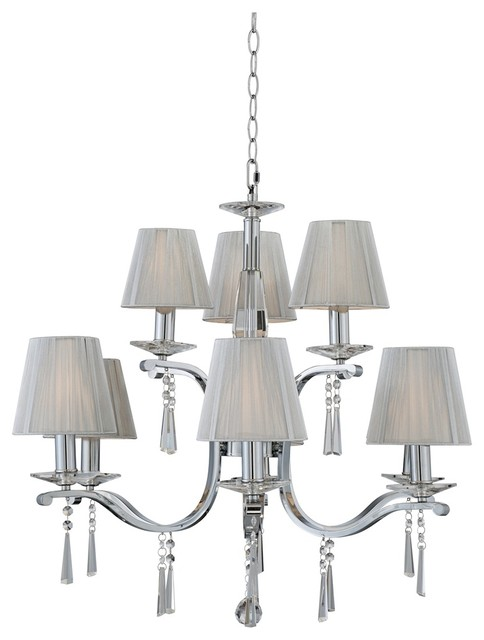String Lights Lamps Plus : Contemporary 9-Light Crystal Chandelier With Silver String Shades - Contemporary - Chandeliers ...
