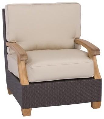 Three Birds Ciera Wicker Teak Lounge Chair Modern Outdoor Chaise Lo