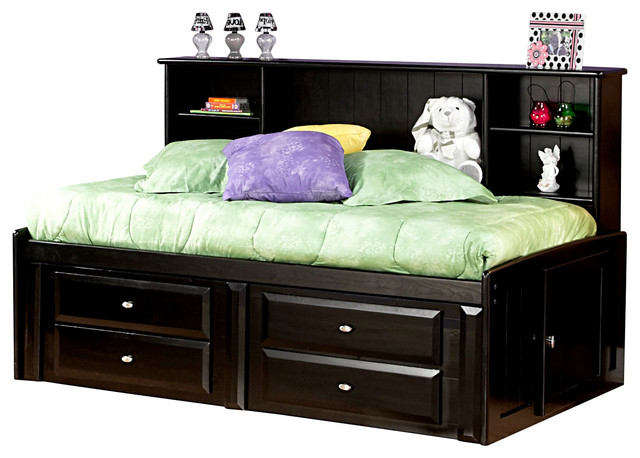 Chelsea home twin bed with bookcase and storage in black cherry
