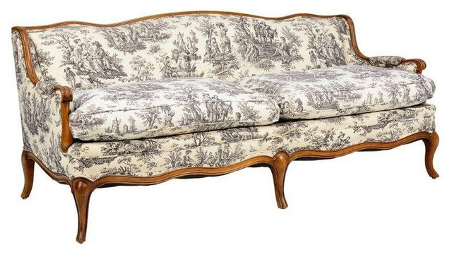 Toile De Jouy French Provincial Style Sofa Transitional Sofas San Francisco By Chairish