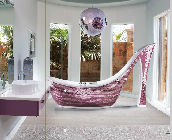 Icons Mosaic Shoe Bathtub eclectic-bathtubs