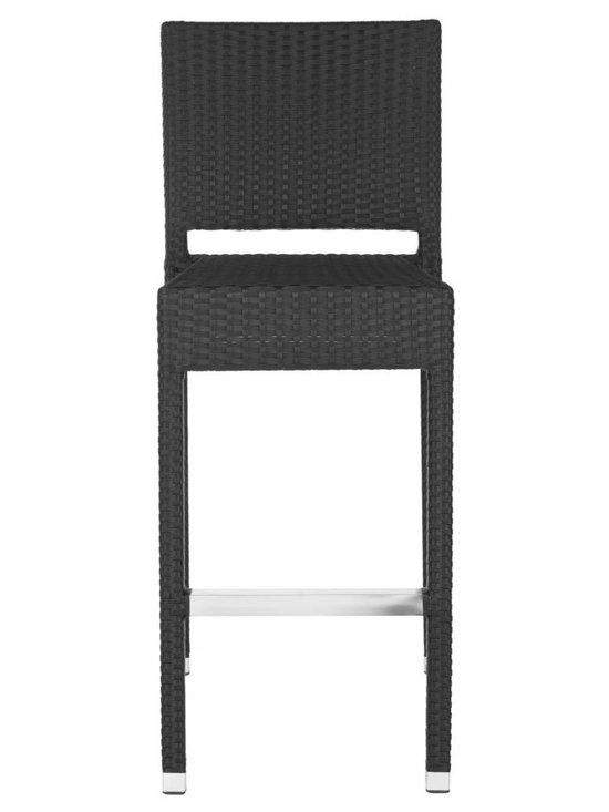 Safavieh - Bethel Indoor-Outdoor Barstool - A perfect balance of design and utility, the Bethel indoor-outdoor barstool by Safavieh looks as chic at the kitchen island as it does on the patio. Crafted of easy-care black PE wicker with an aluminum frame, and trimmed with contrasting footrest and caps in silver, Bethel is transitional in style.