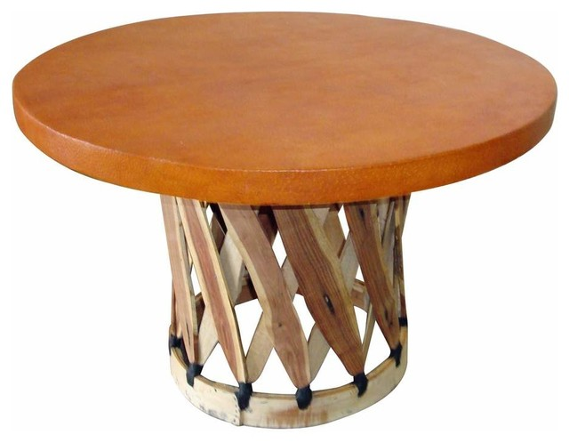 Round Mexican Equipale Coffee Table Rustic Coffee