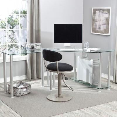 L-Shaped Glass Computer Desk modern-desks