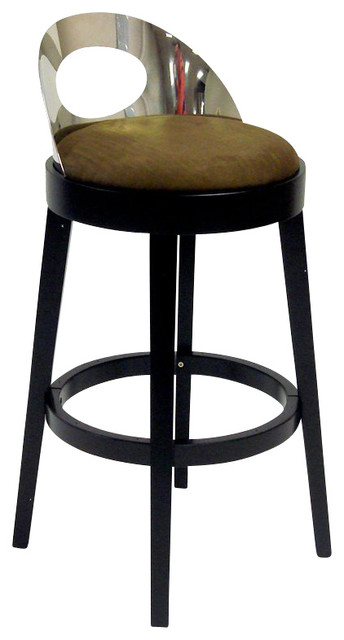 Armen Living Vista 26 Inch Brown Microfiber Stationary Barstool ...