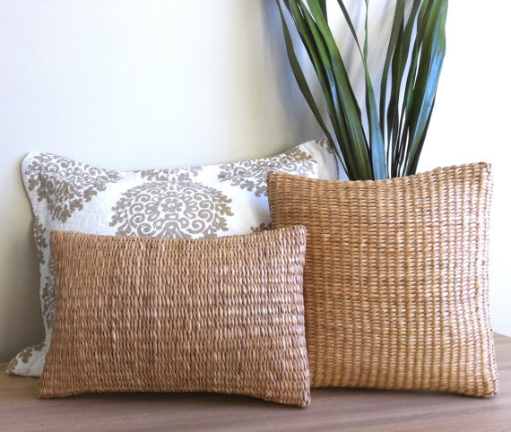 Woven Rattan Boudoir Pillow by MinModtique - tropical - pillows