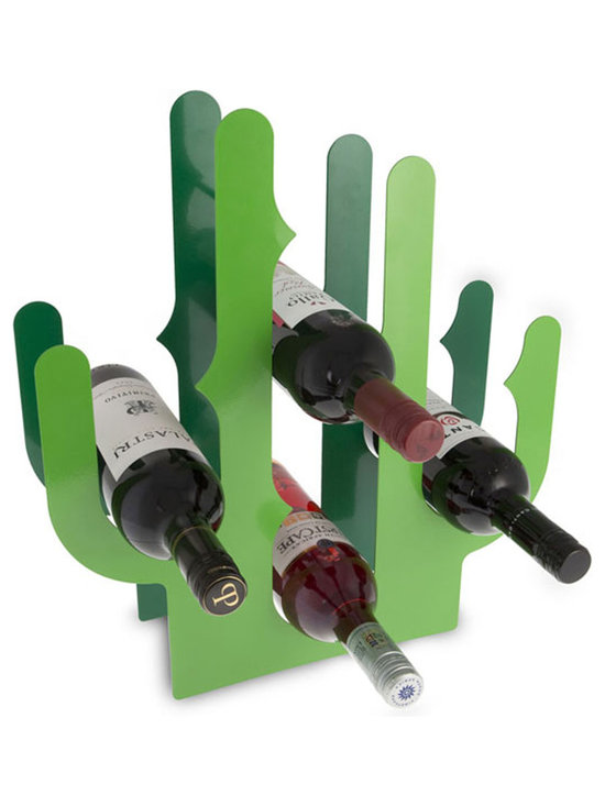 j-me Original Design - Make a statement with the Cactus Wine Rack. This high-quality durable wine rack is constructed of powder coated steel and available in a two-tone green finish. The cactus thorns hold up to eight (8) bottles and provide a unique way to store your wine. The Cactus Wine Rack will liven up any kitchen or living room.
