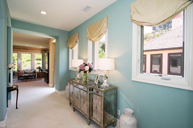 Aqua Master Suite Traditional Bedroom Los Angeles By Alexandra Rae Design