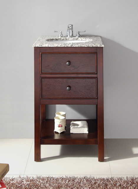 new walnut brown 20 inch bath vanity and dapple grey granite top contemporary bathroom