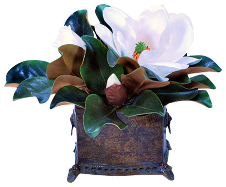 Magnolia Planter white 16 inch tall traditional-artificial-flowers-plants-and-trees