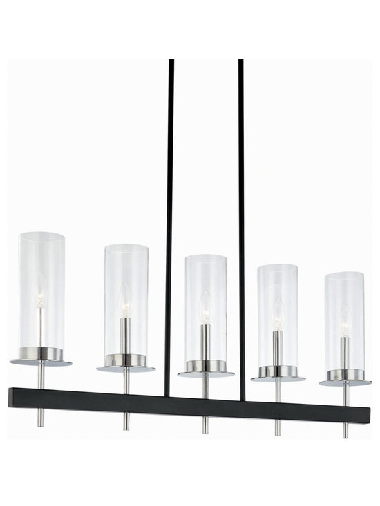 "Sonneman - Robert Sonneman Tuxedo 5 Light Pendant Bar Chandelier - A wonderfully urbane and sophisticated look for the home this large pendant chandelier comes from acclaimed designer Robert Sonneman. The piece has clear glass cylinders supported on a black and chrome finish bar frame. Includes six 12"" and two 6"" stems to vary the hang height. Takes five 60 watt candelabra bulbs (not included). 34"" wide. 14 1/2"" high. Glass is 3 1/2"" wide 9 1/2"" high.  Black and chrome finish.  Clear glass.  A stylish large chandelier.  Takes five 60 watt candelabra bulbs (not included).   Linear style.  34"" wide.   14 1/2"" high.   Glass is 3 1/2"" wide 9 1/2"" high."