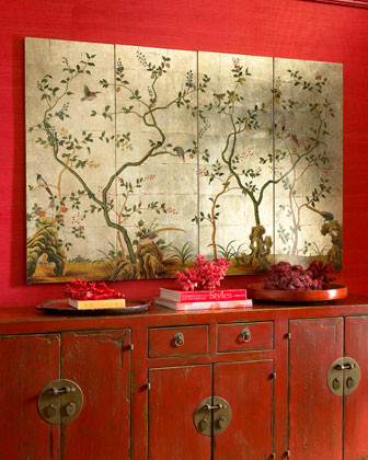 Asian wall panels traditional artwork by horchow for Oriental accessories