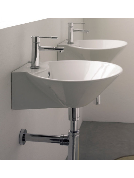 "Scarabeo - Conical Shaped Contemporary Wall Mounted or Vessel Sink by Scarabeo - Stylish bathroom sink designed and manufactured in Italy by Scarabeo. Contemporary round sink which can be installed as either a wall mounted or above counter vessel sink. Sink has a conical shape and includes overflow and a single faucet hole. Made of high quality white ceramic. Sink dimensions: 16.50"" (width), 6.10"" (height), 16.50"" (depth)"
