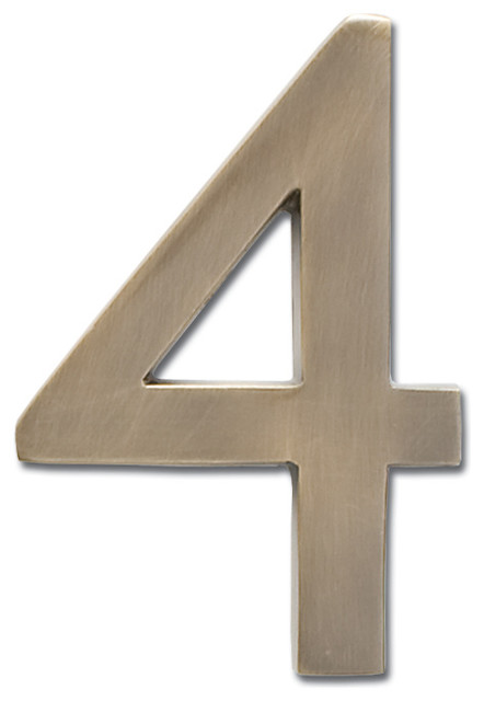 Floating house number antique brass 4 contemporary house numb