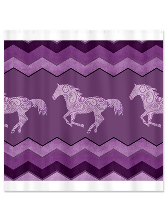 Purple Paisley Horse Shower Curtain by Painting Pony -