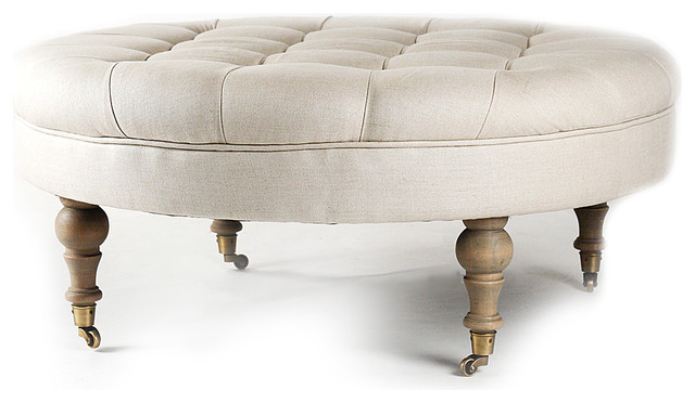 Maison Tufted Round Ottoman - Natural Oak with Natural Linen traditional-footstools-and-ottomans