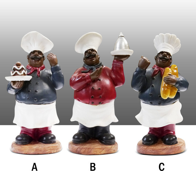 black chef kitchen statue figure table art decor complete set traditional kitchen products. Black Bedroom Furniture Sets. Home Design Ideas
