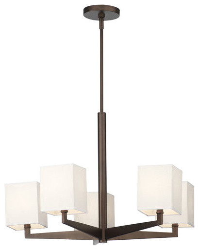 Fisher Island Merlot Bronze Five-Light Chandelier w/ Square Ivory Fabric Shades contemporary-chandeliers