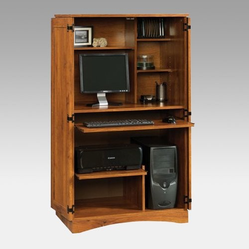 Sauder Harvest Mill Computer Armoire Abbey Oak - Traditional - Storage Cabinets - by Hayneedle