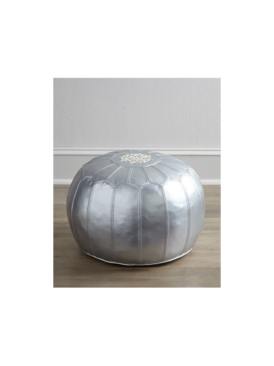 "Horchow - Silver Pouf - Exclusively ours. With its medallion center and petal design, this captivating pouf adds shimmer to the room as it provides additional seating or a comfy place to rest your feet. Handcrafted of bi-cast leather with foam and fiber fill. 20""Dia. x 15""T. Imported. Boxed weight, approximately 10 l"