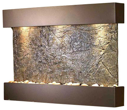 Reflection Creek Wall Fountain with Antique Bronze Trim and Green Slate Surface contemporary-indoor-fountains