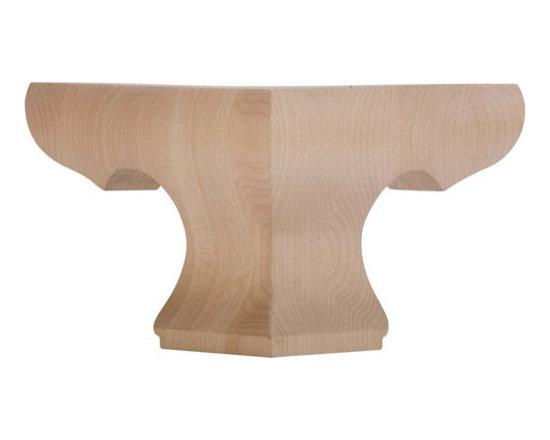 Pedestal Corner Bun Foot, Hardwood -