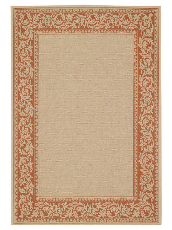 """Finesse Scroll rug in Clay - An esteemed """"Capel Anywhere"""" rug collection woven on precision machine looms in Europe. These versatile rugs can be used in high traffic areas indoors - like kitchens and sunrooms - or to dress up covered porches and decks outside."""