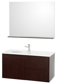 "Fellino 42"" Wall Mounted Bathroom Vanity Set - Espresso modern-bathroom-vanities-and-sink-consoles"