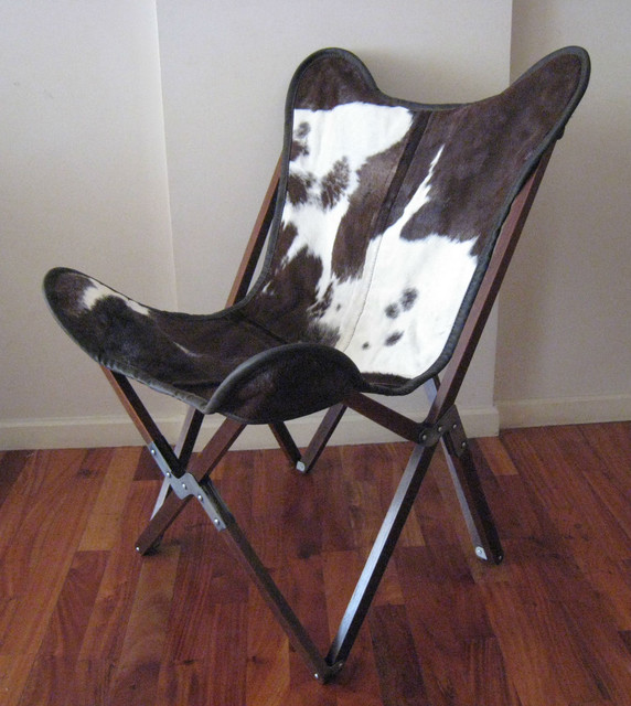 "Original BKF Butterfly Chair ""Tripo""  with Wooden Frame + Cowhide Cover Chairs traditional-chairs"