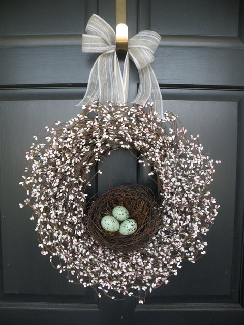 Robins Egg Nest Berry Wreath By Daulhouse Shop contemporary holiday outdoor decorations